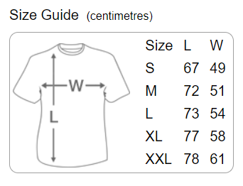 Danger Muff T-Shirt Size Guide