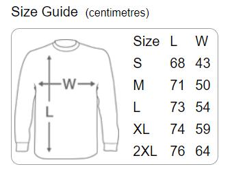 Danger Muff Long T-Shirt Size Guide