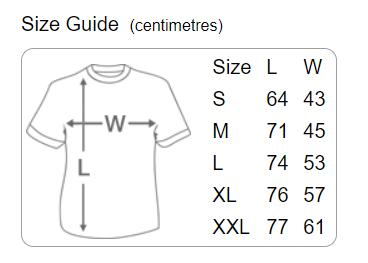 Danger Muff Ringer T-Shirt Size Guide